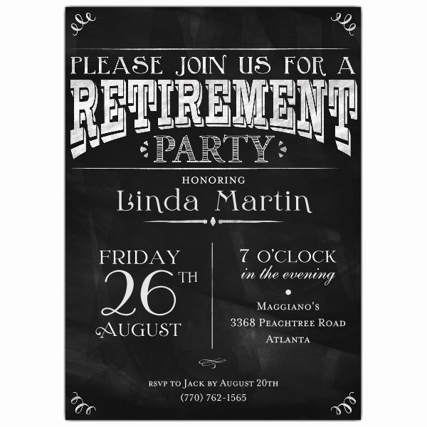 Retirement Invitation Template Word Lovely Chalkboard Black Retirement Party Invitations
