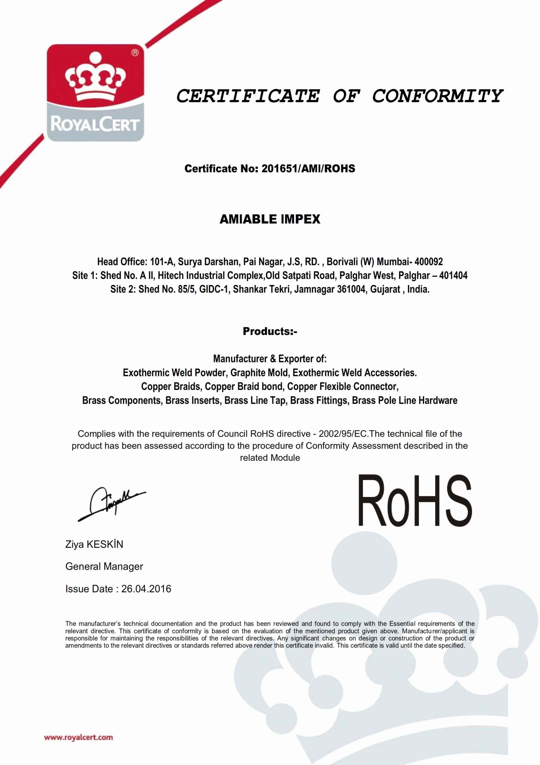 Rohs Compliance Certificate Template Awesome Exothermic Welding Certificate