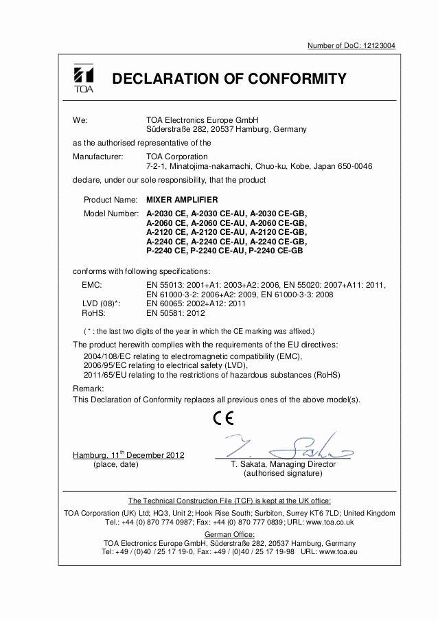 Rohs Compliance Certificate Template Elegant A 2060 Declaration Of Conformity
