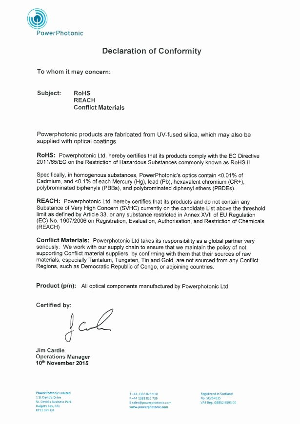 Rohs Compliance Certificate Template New Eu Rohs and Reach Statement