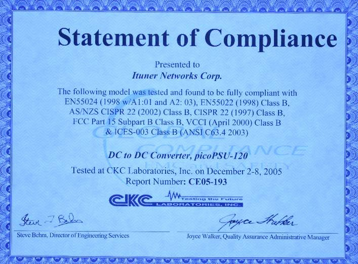 Rohs Compliance Certificate Template New Picopsu 120 102w Power Kit