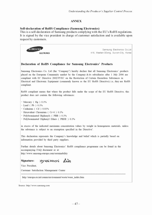 Rohs Compliance Certificate Template New the Restriction Of Hazardous Substances Rohs Manual for Smes