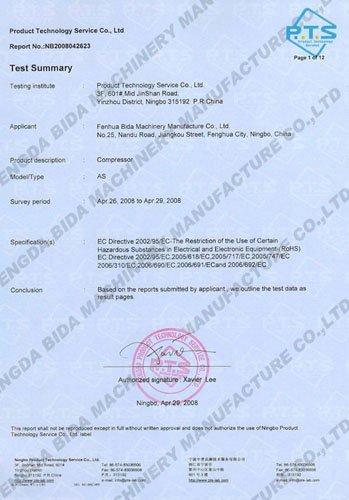 Rohs Compliant Certificate Template Awesome Rohs Certificate Fenghua Bida Machinery Manufacture Co Ltd