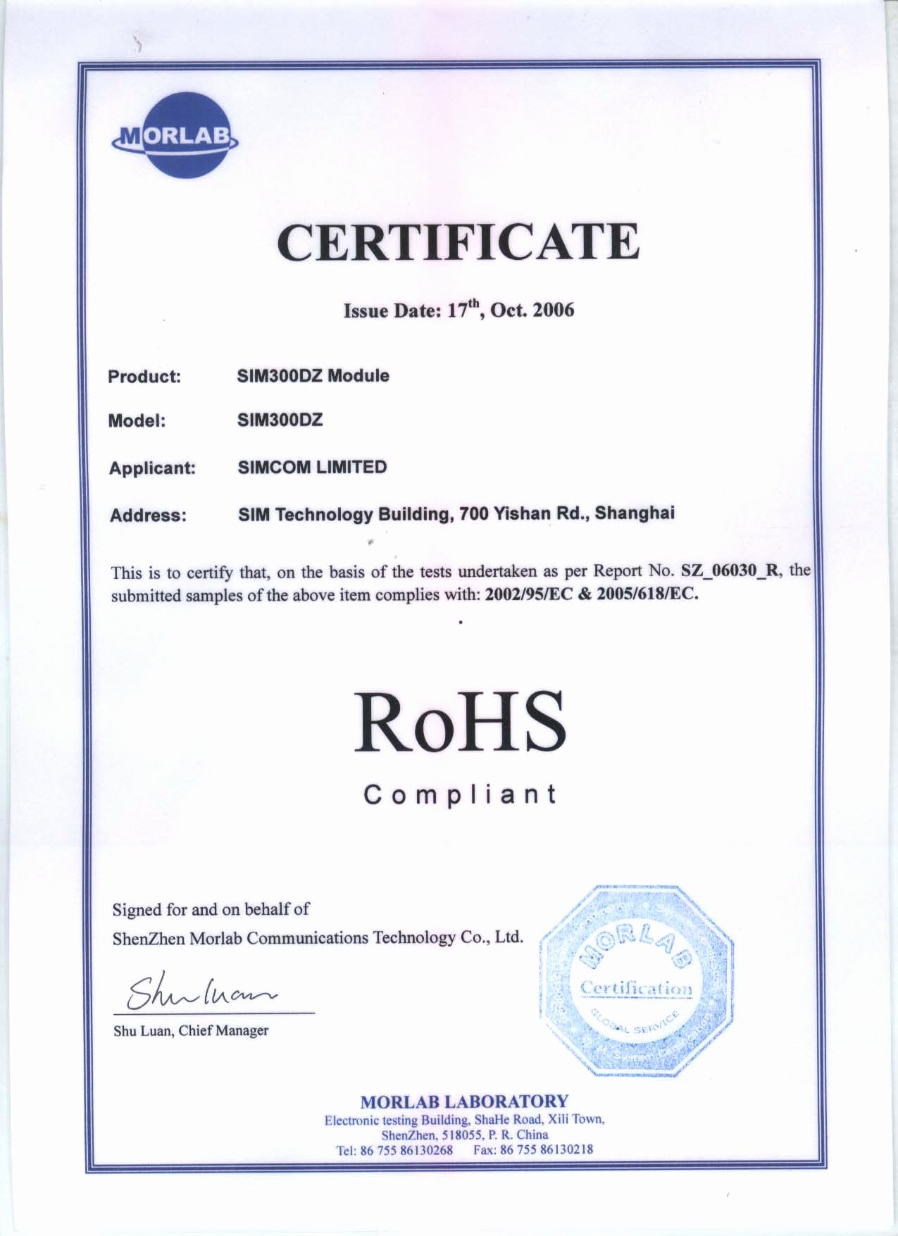 Rohs Compliant Certificate Template Elegant Rohs Certificate for Gsm Module Meitrack Group