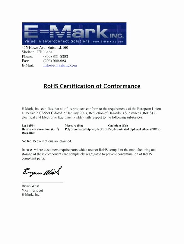 Rohs Compliant Certificate Template Lovely Rohs Pliance Certificate