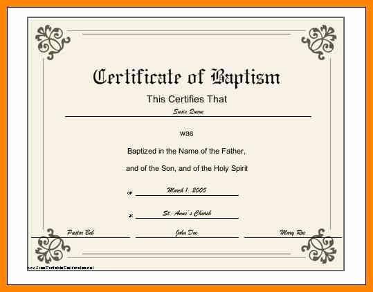 Roman Catholic Baptism Certificate Template Awesome 6 Baptismal Certificate Template