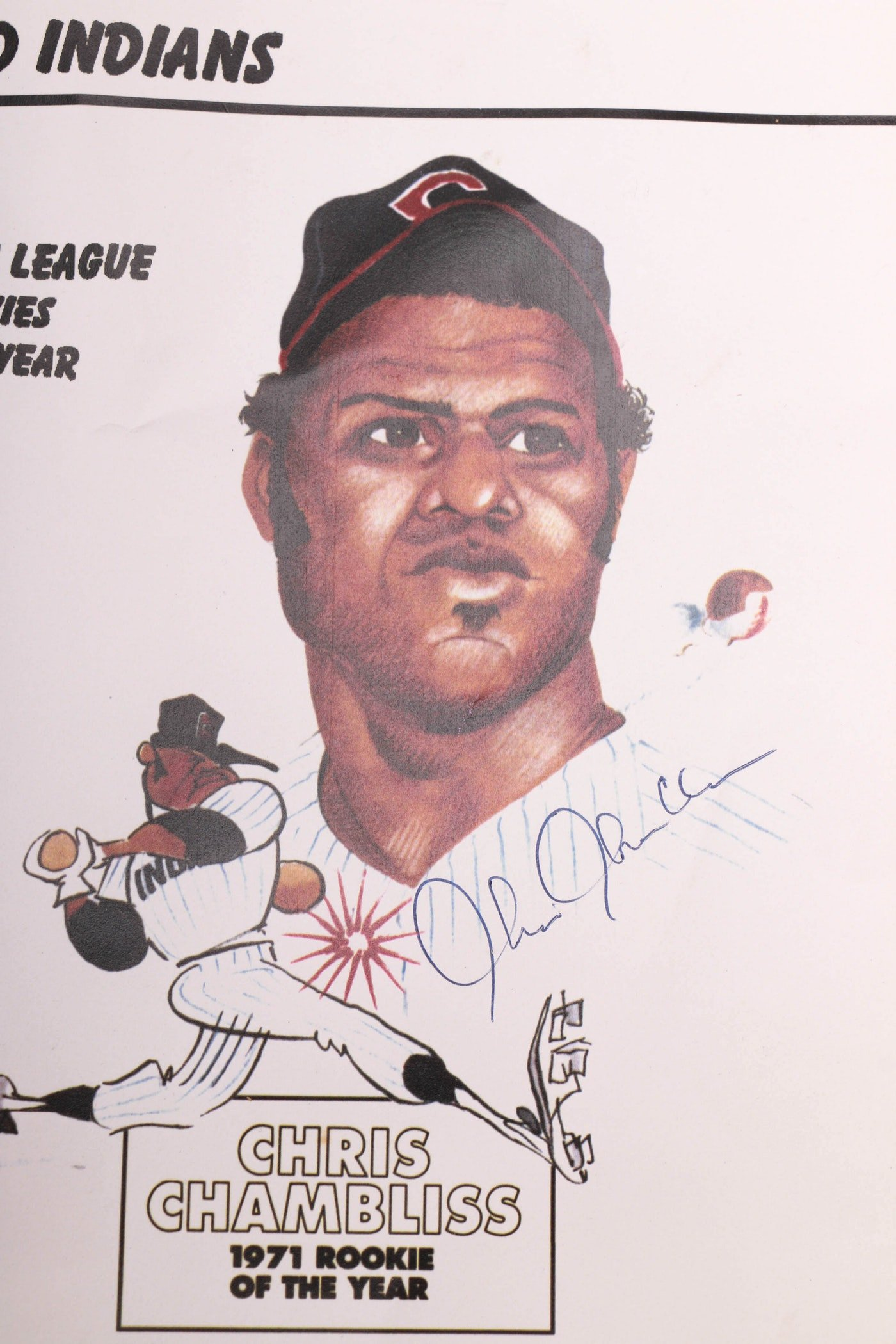 Rookie Of the Year Poster Awesome Herb Score Signed Ball and Cleveland Indians Rookie Of the