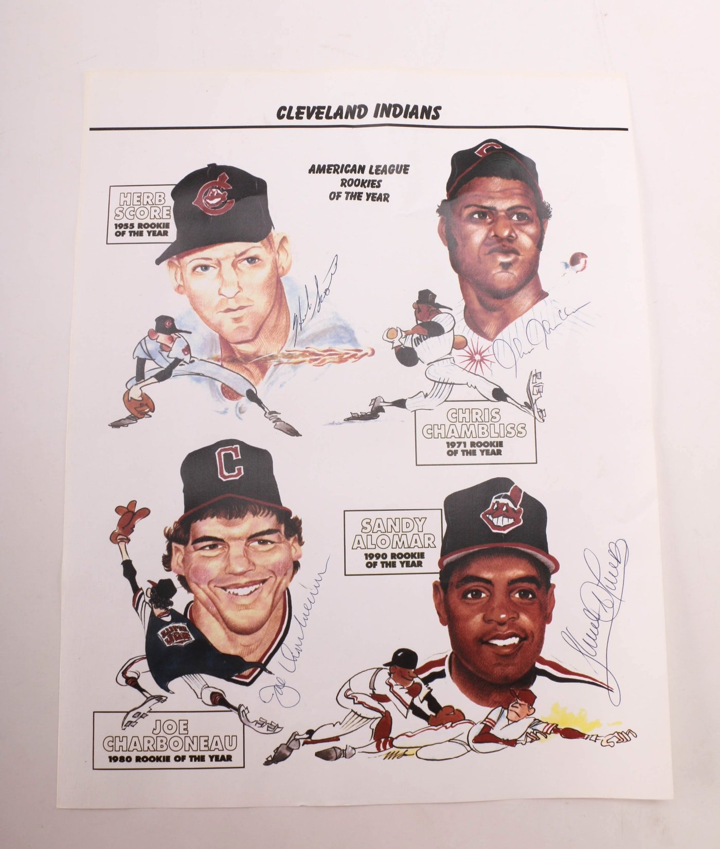 Rookie Of the Year Poster Lovely Herb Score Signed Ball and Cleveland Indians Rookie Of the