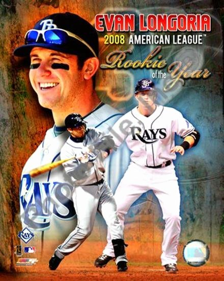Rookie Of the Year Poster New Evan Longoria 2008 American League Rookie the Year