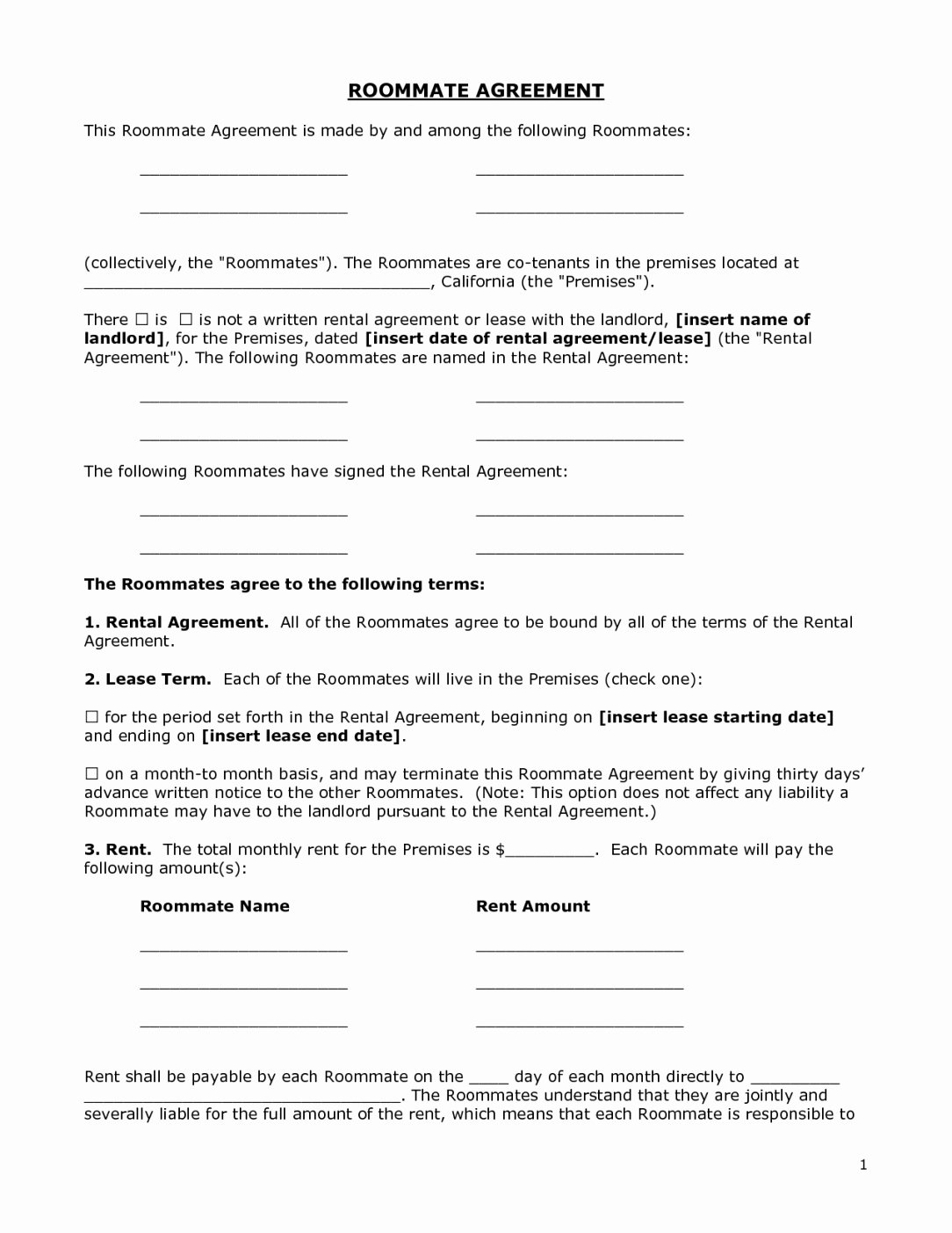 Roommate Eviction Letter Fresh Printable Renters Agreement form Doc by Bgf Roommate