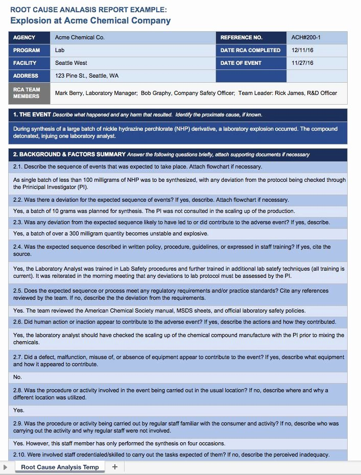 Root Cause Analysis Report form Fresh Root Cause Analysis Template Collection