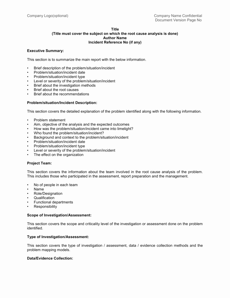 Root Cause Analysis Report form Lovely Root Cause Analysis Report Sample Template