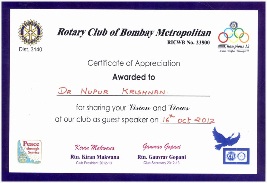 Rotary Certificate Of Appreciation Template Awesome Awards Received by Bio Logics Nutrition Clinic Mumbai India