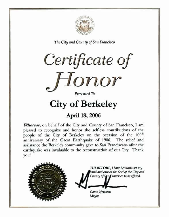 Rotary Certificate Of Appreciation Template Awesome Certificate Of Honor