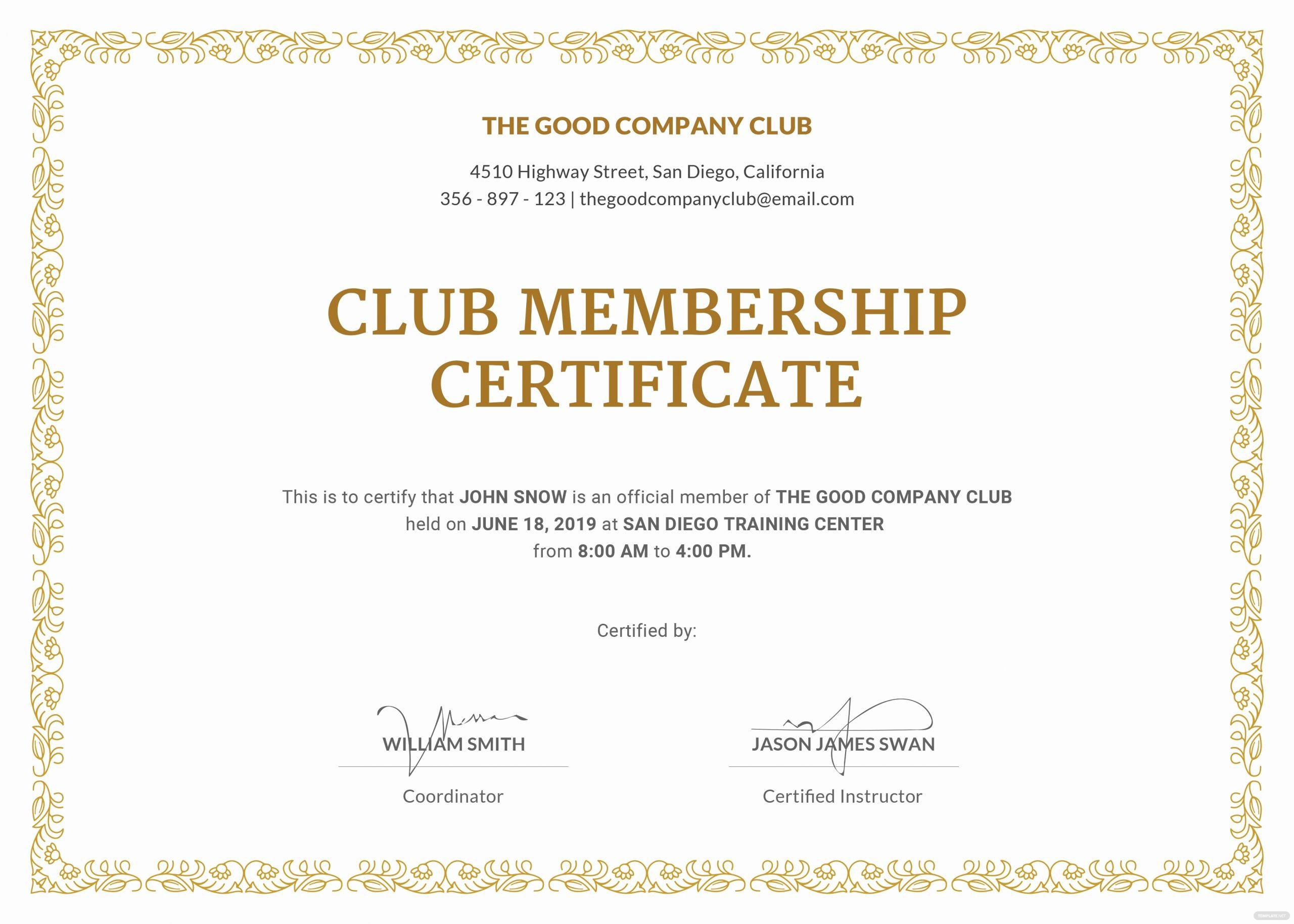 Rotary Certificate Of Appreciation Template Best Of Free Club Membership Certificate Template In Adobe