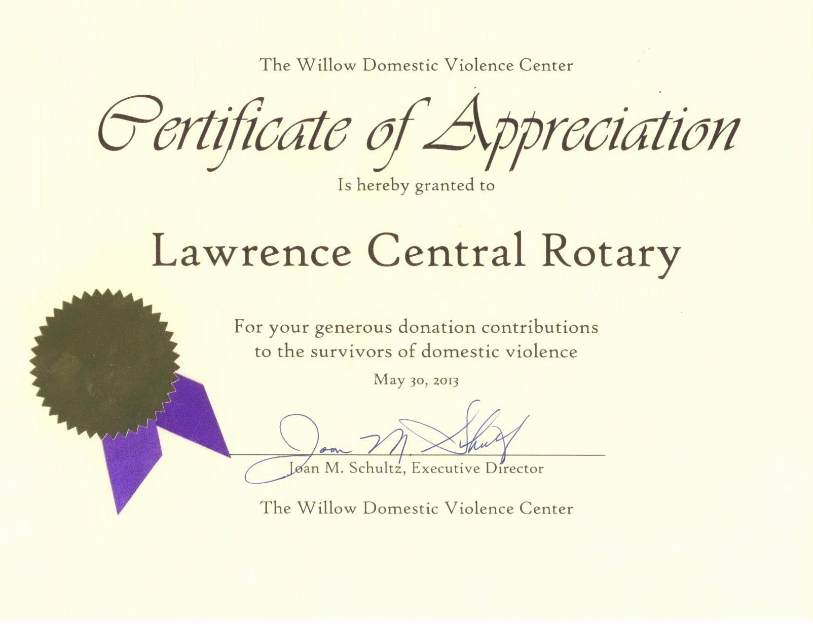rotary certificate appreciation template