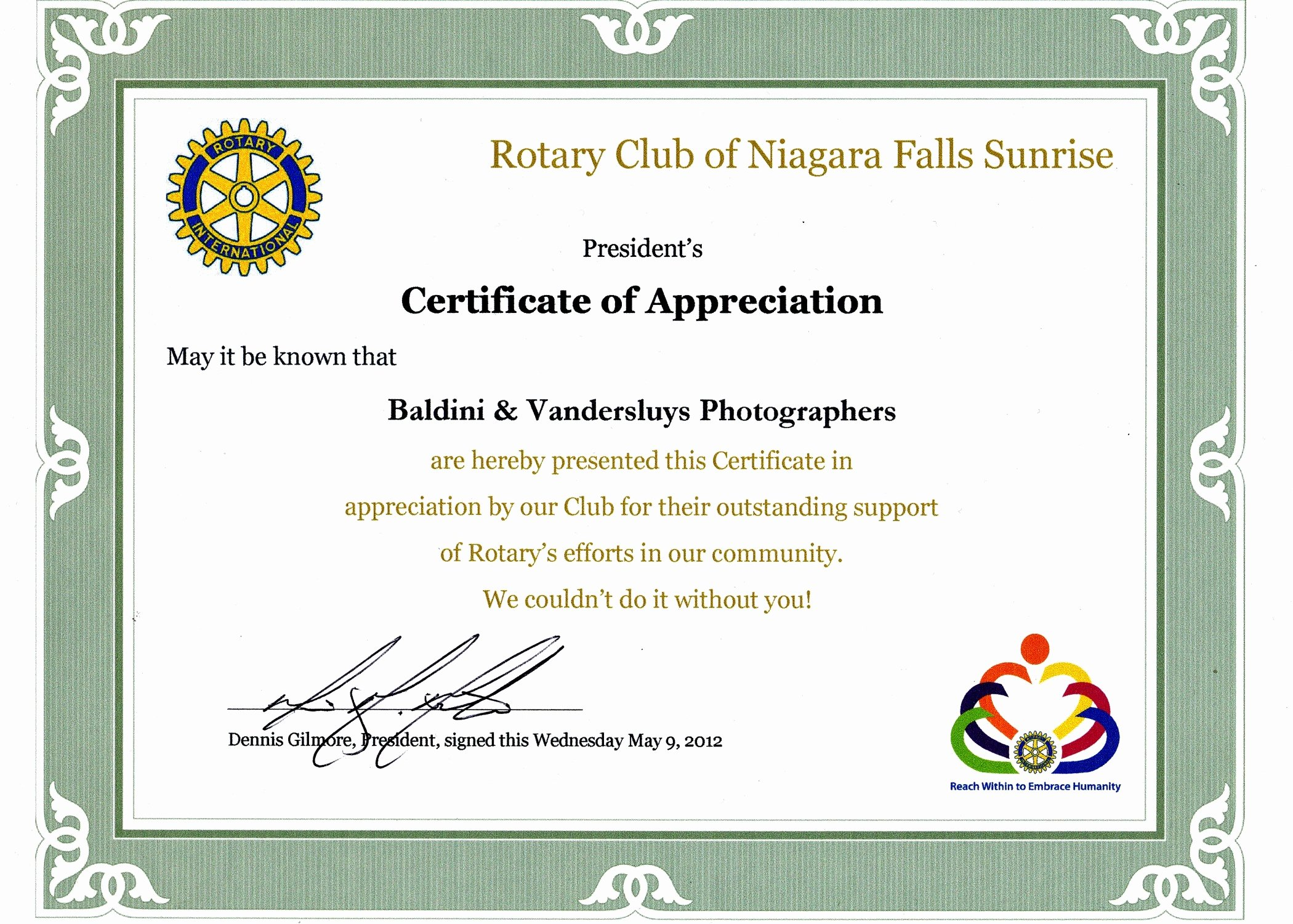 Rotary Certificate Of Appreciation Template New Certificate Appreciation Rotary