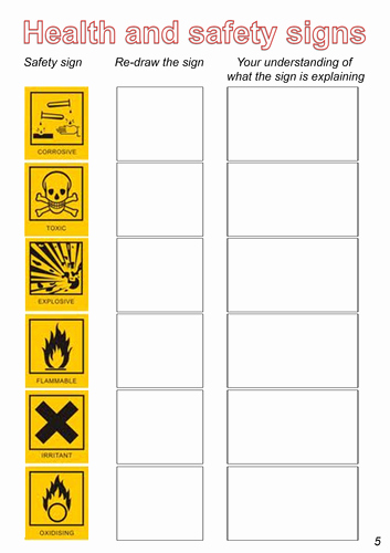 Safety Symbols Worksheet Beautiful Health and Safety Including Coshh by Gwilly Teaching