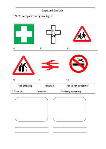 Safety Symbols Worksheet Fresh Ks1 to Recognise Signs and Symbols Worksheet by 06cwebs