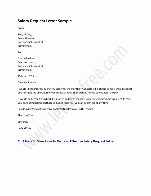Salary Request Letter Elegant Salary Request Letter format