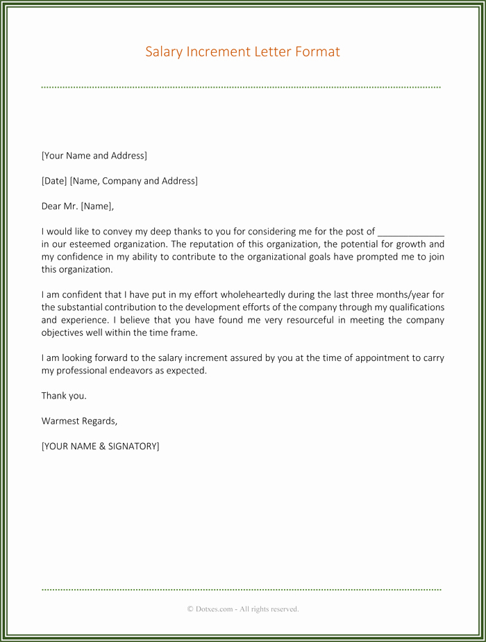 Salary Request Letter Lovely Salary Increment Letter 6 Best Printable Samples Dotxes