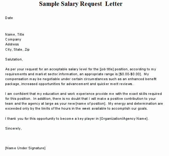 Salary Request Letters Fresh Sample Salary Request Letter
