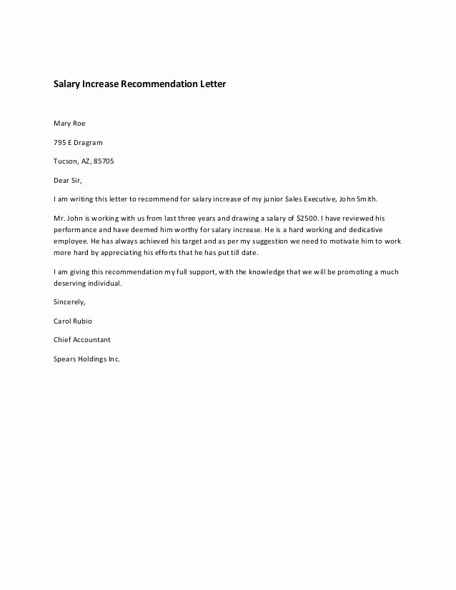 Salary Request Letters Inspirational Salary Increase Re Mendation Letter