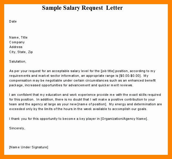 Salary Requirement Sample Letter Best Of 8 Salary Requirements format