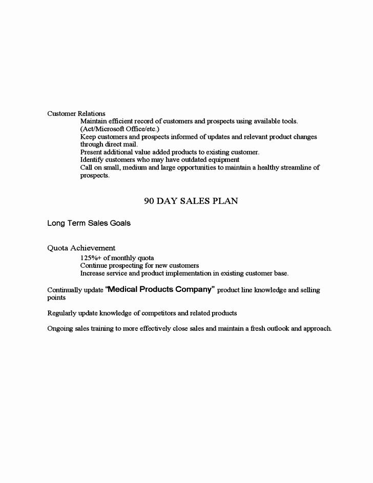 Sales 30 60 90 Plan Sample Beautiful Sample Medical Device 30 60 90 Day Plan Free Download