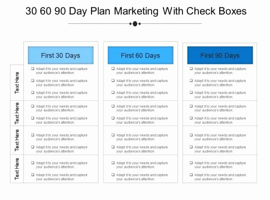 Sales 30 60 90 Plan Sample Lovely 30 60 90 Day Plan Marketing with Check Boxes Example