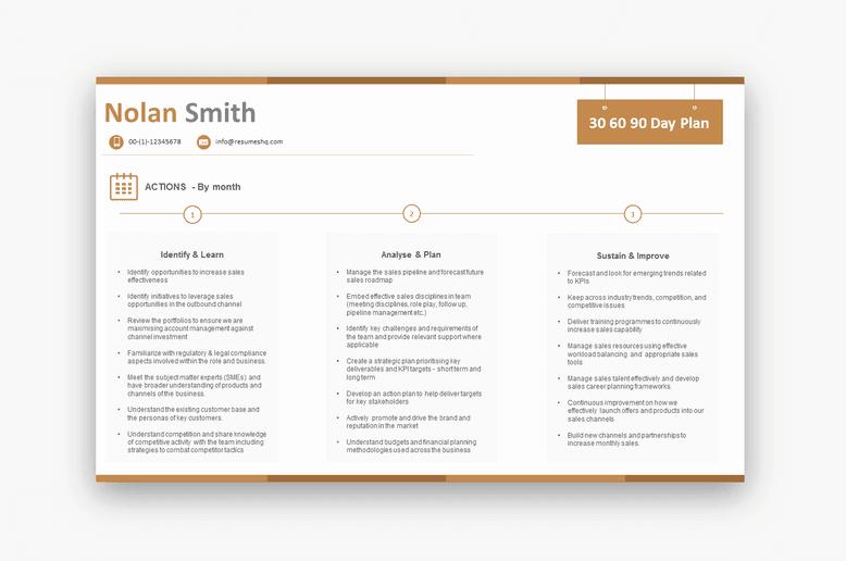 Sales 30 60 90 Plan Sample Lovely 30 60 90 Day Plan Sales $69 00 Resumeshq Designer