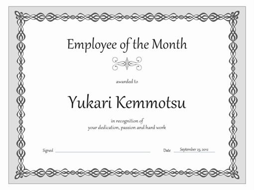 Salesman Of the Month Award Best Of Certificate Employee Of the Month Gray Chain Design
