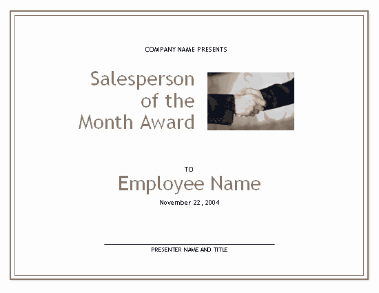 Salesman Of the Month Award Luxury Salesperson the Month Award Free Certificate
