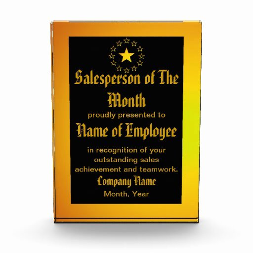 Salesman Of the Month Award New Custom Salesperson Of the Month Award