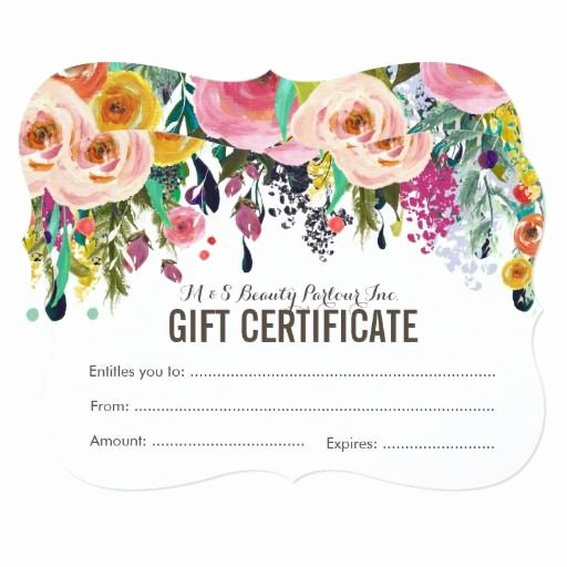 Salon Gift Certificate Template Free Best Of Painted Floral Salon Gift Certificate Template
