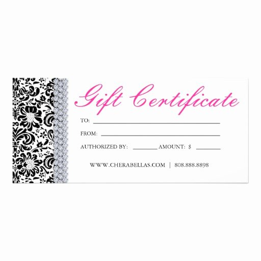 Salon Gift Certificate Template Free Fresh Gift Certificates Salon Spa Pink Crown Jewellery Rack Card