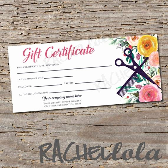 Salon Gift Certificate Template Free Printable Awesome Custom Hair Salon Watercolor Floral Printable Gift