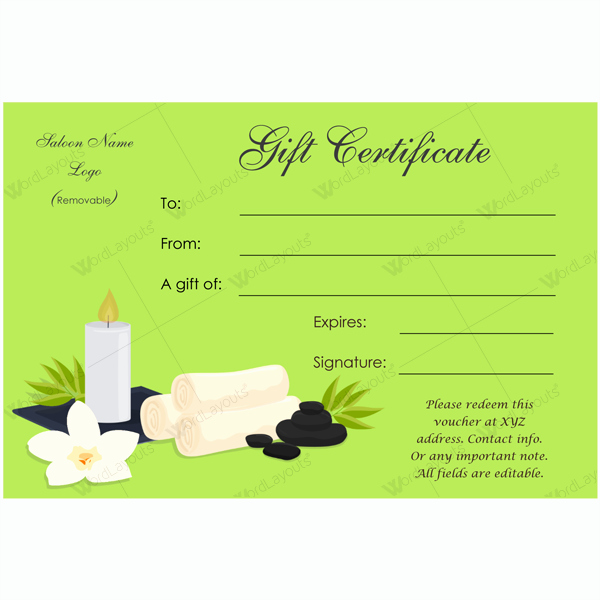 Salon Gift Certificate Template Free Printable Awesome Gift Certificate 24 Word Layouts
