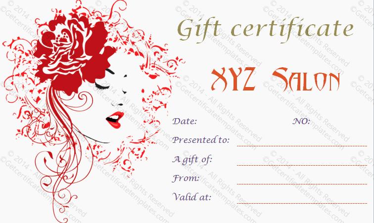 Salon Gift Certificate Template Free Unique Gift Certificate Template