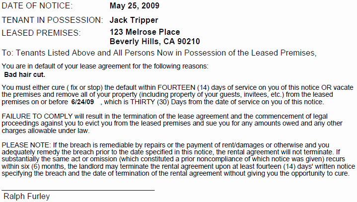 Sample 30 Day Notice to Landlord California Awesome Printable Sample 30 Day Notice to Vacate Template form