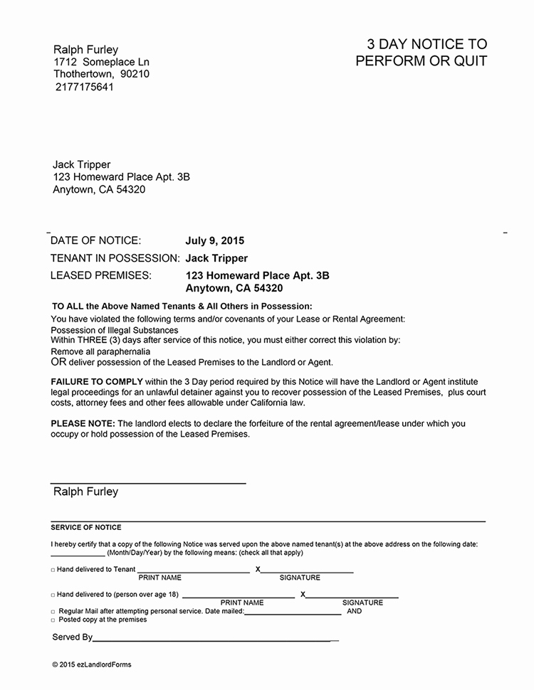 Sample 30 Day Notice to Landlord California Beautiful California 3 Day Notice to Perform or Quit