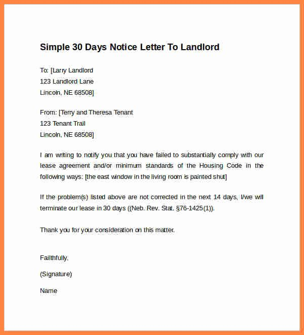 Sample 30 Day Notice to Landlord California New 8 30 Day Notice Letter to Landlord Sample