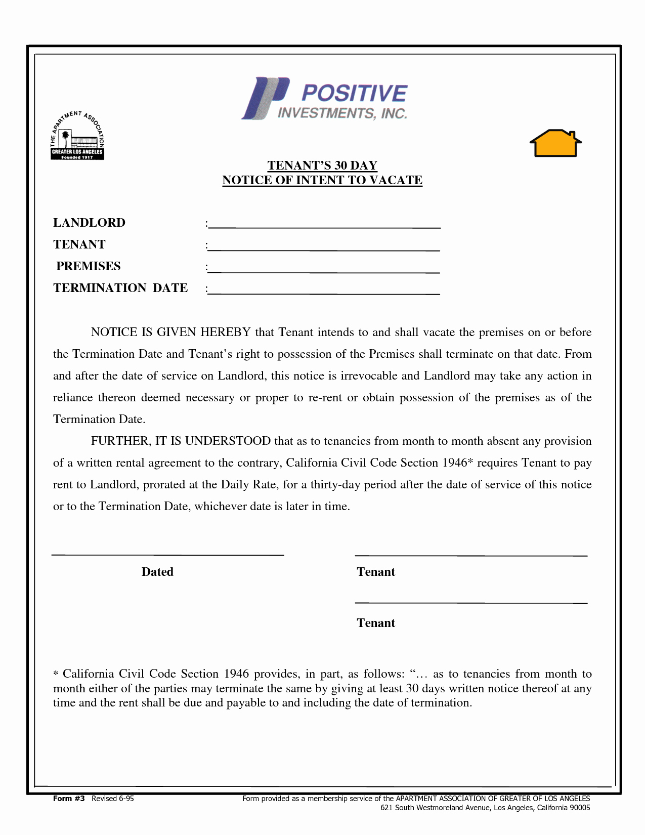 Sample 30 Day Notice to Landlord California Unique Best S Of Tenant 30 Day Notice Letter 30 Day Notice