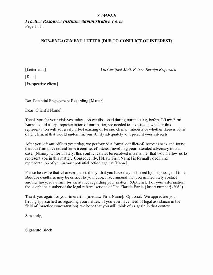 Sample attorney Letter Of Representation Lovely Sample Non Engagement Letter Conflict Of Interest In