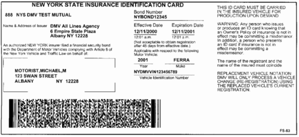Sample Auto Insurance Card Fresh New York Dmv