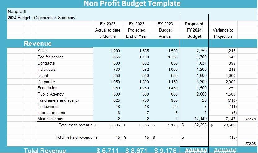 Sample Budget for Non Profit organization Elegant Non Profit Bud Template Microsoft Project Management