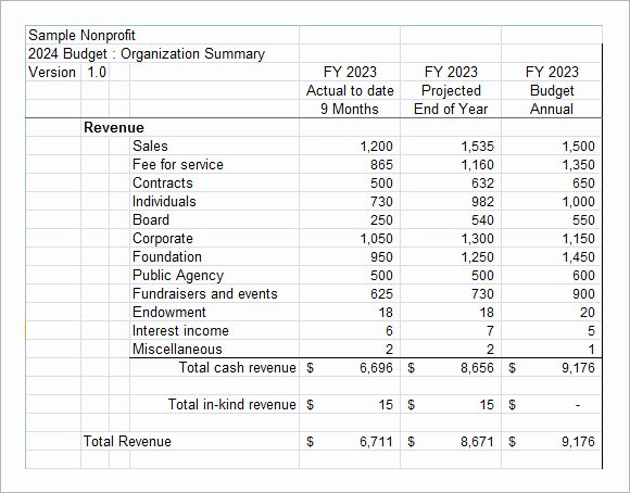 Sample Budget for Non Profit organization Fresh Non Profit Bud Template – 6 Free Samples Examples