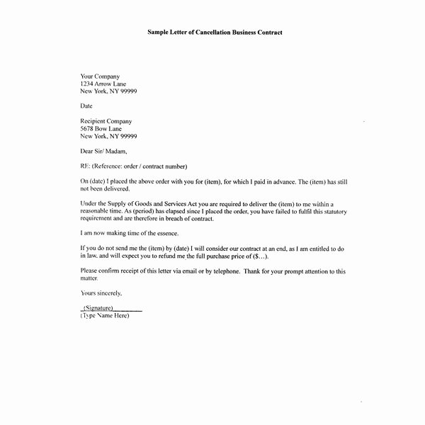 Sample Business Contracts Awesome How to Write A Sample Letter Of Cancellation Business Contract