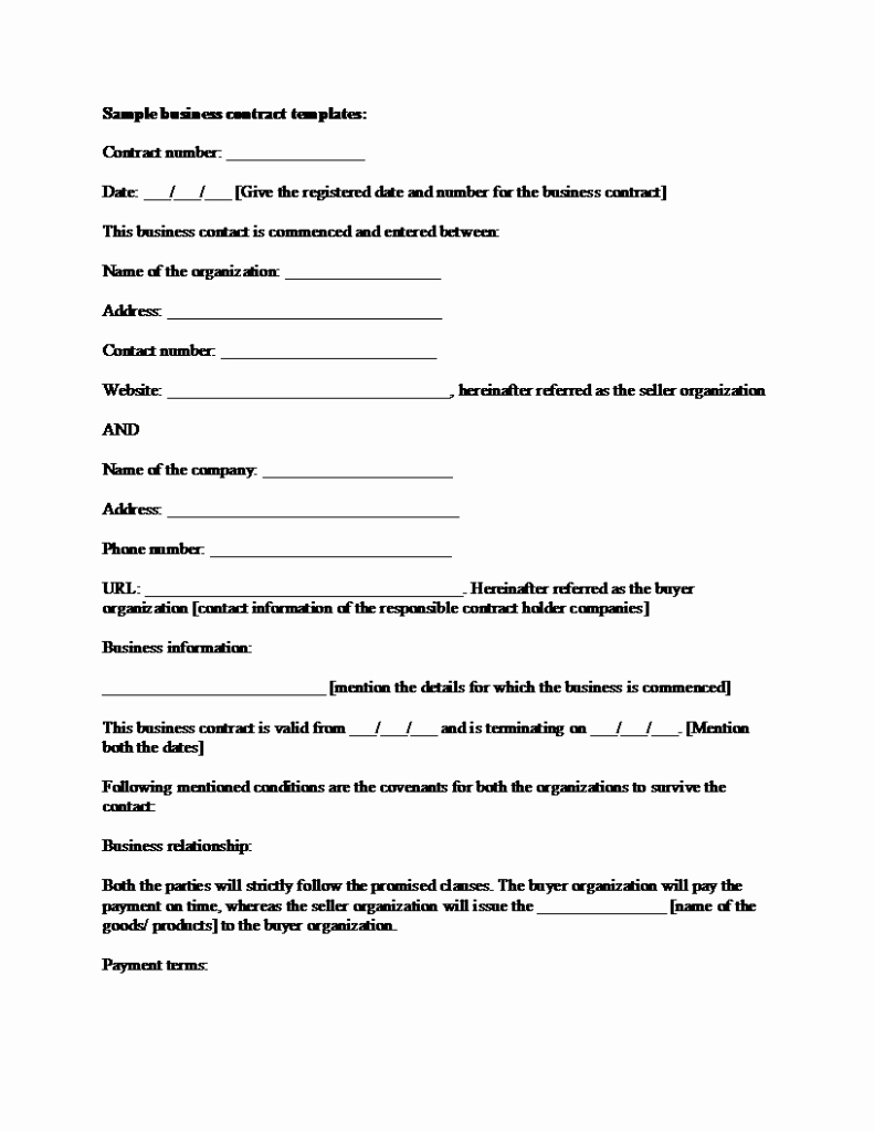 Sample Business Contracts Awesome Sample Business Contract Template