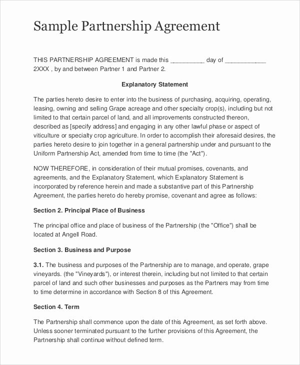 Sample Business Contracts Beautiful Sample Business Partnership Contract 10 Documents In